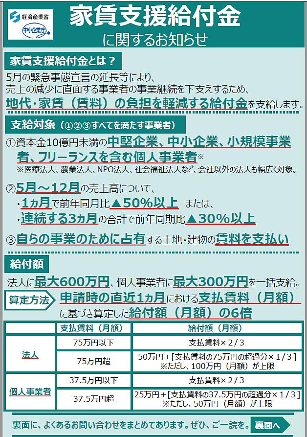 【家賃支援給付金】7月14日(火)申請受付開始!
